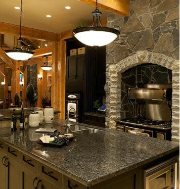 Cultured Stone Oven Wood Beam Ceiling Kitchen