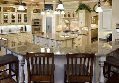 White Antique Finish Cabinet Kitchen Remodel Houston