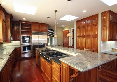 Matching Cherry Cabinet Wood Floors Kitchen Houston TX