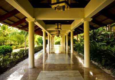 Entryway Canopy with Polished Stone Tile Flooring Houston
