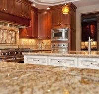 Cherry Birch Cabinets Ceramic Backsplash Kitchen Houston