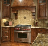 Stained Oak Ceramic Splash Kitchen Houston