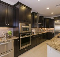 Dark Cabinet and Stainless Steel Kitchen Remodel Houston