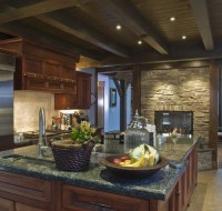 Austin Rustic Ceiling and Stone Kitchen Houston