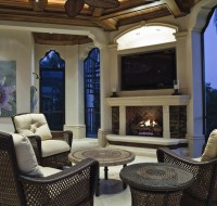Luxury Lanai with Coffer Ceiling and Fireplace Houston