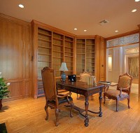 White Oak Study of Luxury Home Houston
